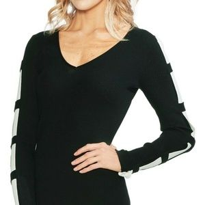 Vince Camuto Sweater Black White Contrast XXS